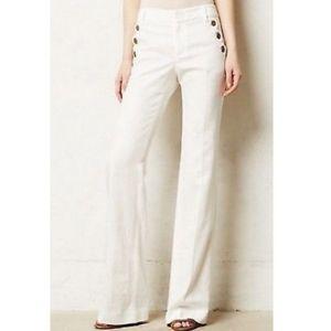 Anthro Elevenses Brighton White Linen Blend Pants